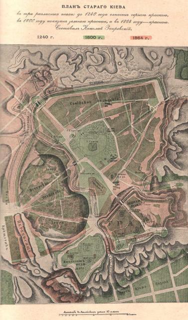 План развития Киева с 1240 по 1864 год за Н.Закревским
